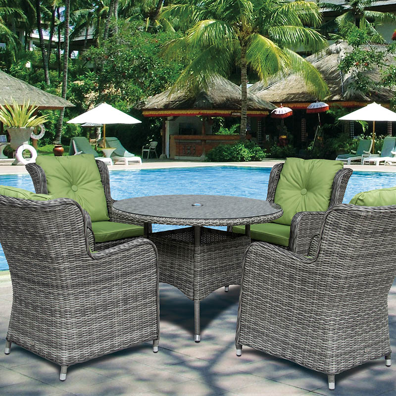 Seville 4 High Back Armchairs + 110cm Round Table Set