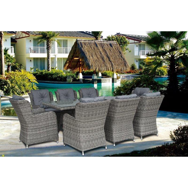 Seville 8 High Back Armchairs + 210 x 100cm Rectangular Table