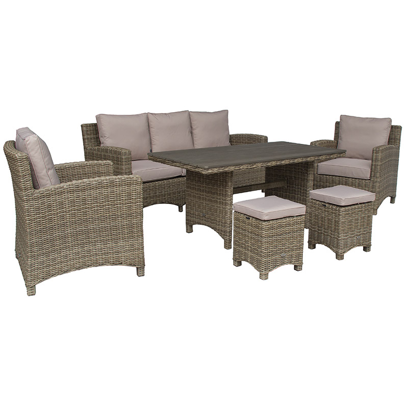 Seville 3 Seat Sofa with High Dining Table and two stools