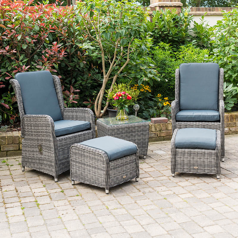 Seville High Back Reclining Chairs with Footrest Stools