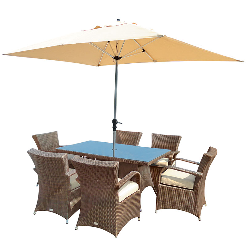 Buckingham 6 Seat Armchair Dining Set Rectangular Bronze