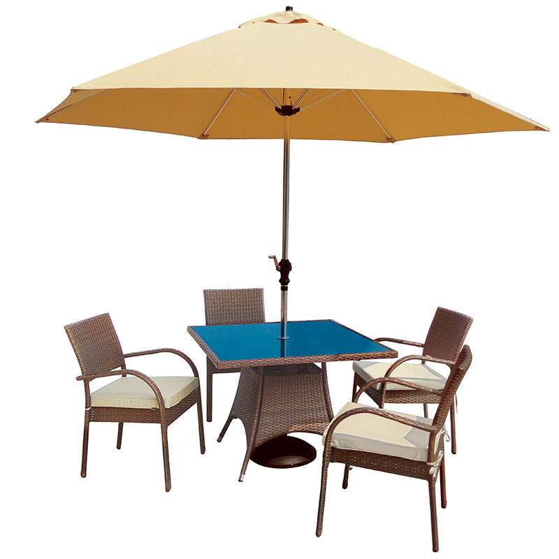 Balmoral 4 Seat Stacking Armchair Square Bronze Dining Set