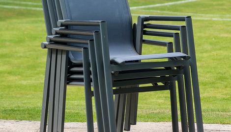 Aluminium 8 High back Chair Set