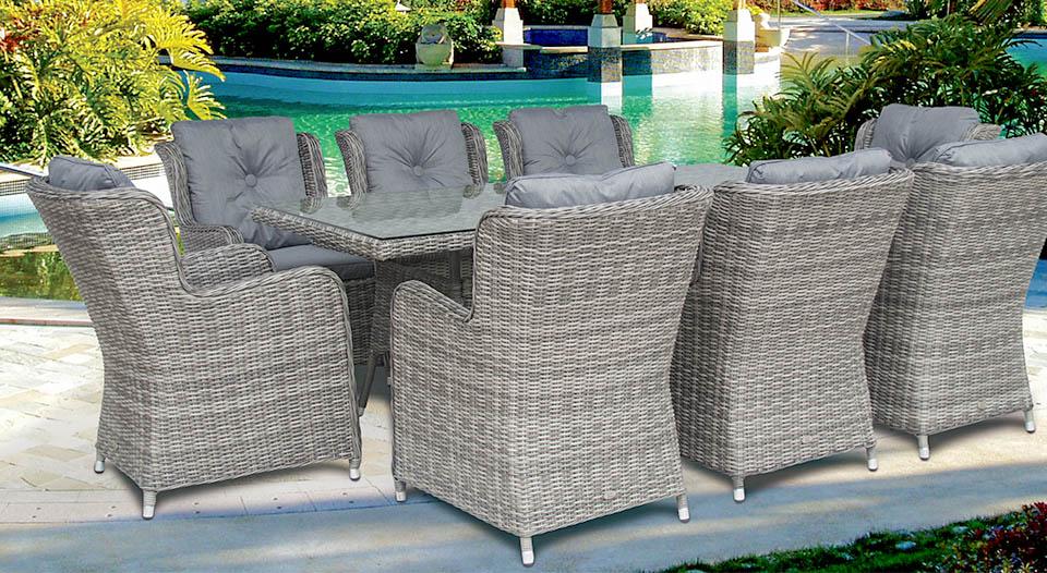 Seville 8 Seat Rectangular Table Set