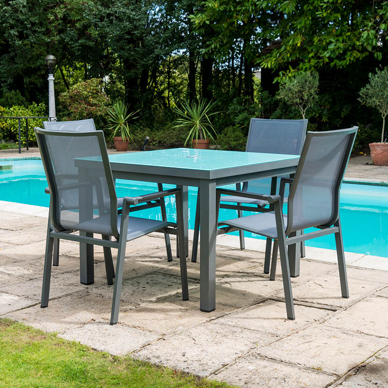 Aluminium 4 High Back Chair Set