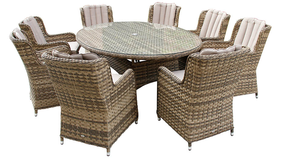 Bali 8 Chair oval table dining set