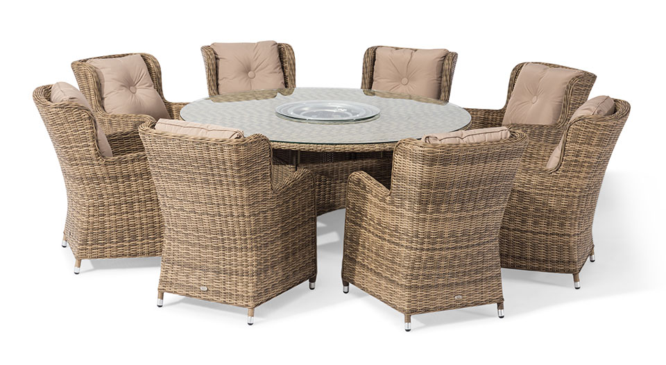 Seville 8 Seater Round Fire Pit Table Set