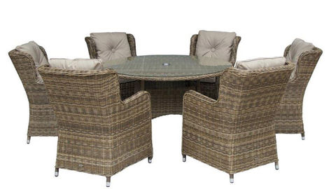 Seville 6 High Back Armchairs + 140cm Round Table