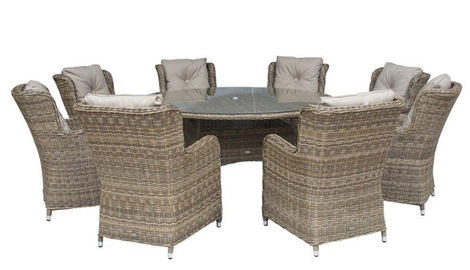 Seville 8 High Back Armchairs + 170cm Round Table