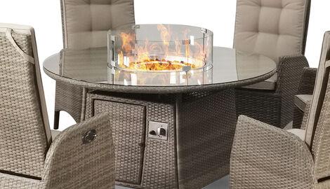Sandringham 6 Chair Reclining Fire Pit Set